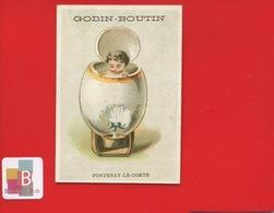 FONTENAY LE COMTE Godin Boutin Rue Royale Mercerie Chromo Bébé Baignoire Circa 1880 - Trade Cards
