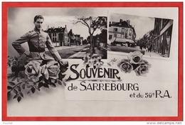 EB9- 57) SOUVENIR  DE SARREBOURG  ET DU 59° REGIMENT D 'ARTILLERIE  (CARTE FANTAISIE MULTIVUES AVEC  MILITAIRE - 2 SCANS - Sarrebourg