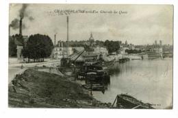 Chalon S Saône - Vue Générale Des Quais (pente De Mise à L'eau Des Péniches, Grandes Cheminées Crachant Fumées) 1918 - Chalon Sur Saone