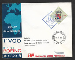Angola Portugal Premier Vol TAP Luanda  Johannesburg Afrique Du Sud 1965 First Flight To South Africa Cover - Angola