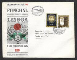 Portugal Premier Vol TAP Funchal Madère Lisbonne 1964 First Flight Madeira Lisbon Cover - Poste Aérienne