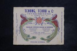 """FRANCE - Carte Commerciale """" Tchong Tchou & Cie """" Meubles Chinois Ancien Et Moderne De Paris - L 26460 - France"""
