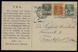 Switzerland - Stationery. 1922 (10 June). Zurich - Germany / Frankfurt. 10c Green Stat Card + 2 Adtls. VF. - Switzerland