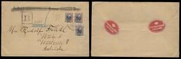 ICELAND. 1925 (12 March). Reykjavik - Austria. Reg High Values Ovptd. 30o + 50o Pair / Cds. Postal Seals On Reverse. VF. - Islande