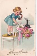Carte 1930 BONNE ANNEE FILLETTE TELEPHONE STYLE BERTIGLIA - Anno Nuovo