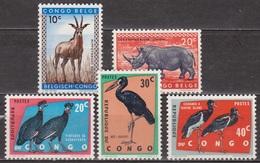 Faune - Antilope - Rhinocéros - Pintades, Bec-ouvert, Cigogne - CONGO - Protection Des Oiseaux - 1959-1963 - République Du Congo (1960-64)