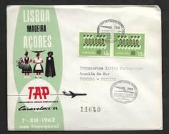 Portugal Premier Vol TAP Santa Maria Açores Funchal Madère Recommandée 1962 First Flight Azores Madeira Registered Cover - Poste Aérienne