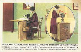 Publicité Machine à Coudre Singer (Bordeaux) - Nouveaux Meubles - Carte Non Circulée - Pubblicitari