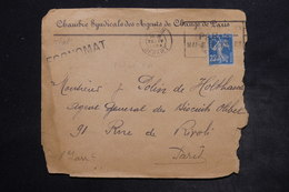 FRANCE - Type Semeuse Perforé CA Sur Enveloppe Commerciale De Paris En 1924 - L 26466 - Perforés
