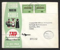 Portugal Premier Vol TAP Santa Maria Açores Lisbonne Recommandée 1962 First Flight Azores Lisbon Registered Cover - Poste Aérienne