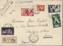 YT Ae 33 45 46 299A 298A Recommandé Banque De La Réunion CAD St Denis Réunion 11 2 1953 Mixte Surchargé CFA Et Pas - Réunion (1852-1975)