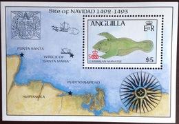 Anguilla 1986 Columbus Discovery Of America Manatee Minisheet MNH - Anguilla (1968-...)