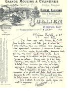 Facture Grands Moulins à Cylindres Système Hongrois à Gournay-En-Bray ( Seine Infre) En 1910 - France