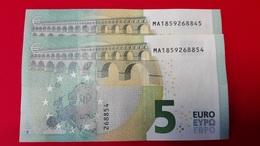 2x 5 EURO M004 J1 PORTUGAL PAREJA RADAR - Serial Numbers MA1859268854 / MA1859268845 - UNC FDS NEUF - EURO