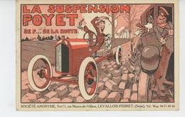 """PUBLICITÉ - AUTOMOBILES - Jolie Carte PUB Pour SUSPENSION JACQUES POYET """" Pour Auto 10 HP CITROËN - Dessin JEAN ROUTIER - Publicité"""