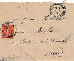 Lettre Semeuse 10c Cad Perlé Durfort Et St Martin De Sossenac  Gard - Postmark Collection (Covers)
