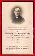 -- IMAGE MORTUAIRE  De Monsieur L'ABBE GILBERT GIDEL Curé De CHÂTEL De NEUVRE (Allier)  -- - Images Religieuses