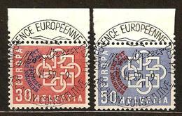 Zu 349-350 / Mi 681-682 / YT 632-633 EUROPA 1959  MONTREUX Obl. 1er Jour Centrale SBK 120,- Voir Description - Svizzera