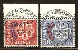 Zu 349-350 / Mi 681-682 / YT 632-633 EUROPA 1959  MONTREUX Obl. 1er Jour Centrale SBK 120,- Voir Description - Switzerland