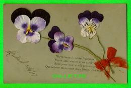 FLEURS - DES PENSÉES EN MATÉRIEL AJOUTÉ AVEC BOUCLE ROUGE - CIRCULÉE EN 1907 - - Fleurs