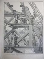 Exposition Universelle , Les Travaux De La Tour Eiffel , Dessin Et Gravure De Tinayre 1888 - Historische Dokumente