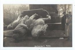 METZ : Belle Carte Photo De La Statue De Guillaume I Renversée - Cliché Keidel - WW1 - Metz