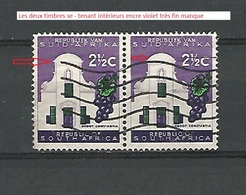 * VARIÉTÉS 1964 N° 285  SE-TENANT RÉPUBLIQUE VAN SUID AFRIKA  2 1/2 C GROOT CONSTANTIA OBLITÉRÉ - Afrique Du Sud (1961-...)