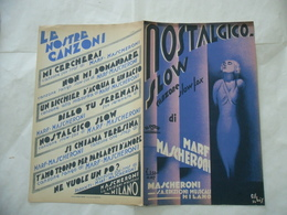 MASCHERONI VITTORIO Spartito Illustrato Musica NOSTALGICO SLOW Marf Gilbas 1934 - Altri