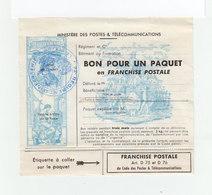 Bon Pour Un Paquet En Franchise Postale. Cachet Du 92ème Régiment D'infanterie. (2069x) - Franchise Stamps