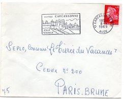CHATEAU = 11 CARCASSONNE 1969 = FLAMME Codée = SECAP  Illustrée ' VISITEZ Ville Féodale ' - Postmark Collection (Covers)