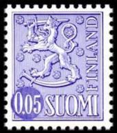 FINLAND 1974, M-63 Definitive PHOSPHOR Lion 0,05 Type II OFFSET EGpQ** - Finlandia