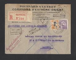 Enveloppe Recommandée Entête Poinsard Et Veyret De Haiphong Tonkin TAD 1/8/31 - Indochina (1889-1945)