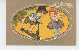 PUBLICITÉ - ENFANTS - Jolie Carte PUB Pour LA GRANDE MANUFACTURE à PARIS - Enfants Jouant à La Patinette - Publicité