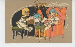 """PUBLICITÉ - ENFANTS - Jolie Carte PUB Pour LA GRANDE MANUFACTURE à PARIS - Enfants Jouant à La Dinette """"La Réception """" - Publicité"""