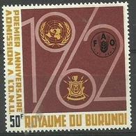 Burundi - 1963 UNO Admission Anniversary 50f MH *  Sc 61 - Burundi