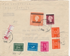 Nederlands Indië - 1949 - Mixed Franking Met Fl2,50 Wilhelmina - Vrijgegeven Deviezeninstituut Van Batavia Naar Denmark - Nederlands-Indië