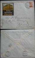 Tematiche Albergo Busta Dall'Hotel Helvetia Di  Firenze Per Roma,insegna Dell'hotel In Rilievo - 1900-44 Vittorio Emanuele III
