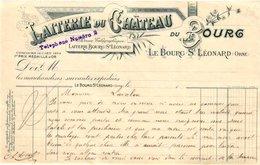 1 Facture Laiterie Du CHATEAU Du Bourg Le Boutg St. LEONARD Orne Tel N°2 - 1900 – 1949