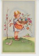 ENFANTS - LITTLE GIRL - MAEDCHEN - Jolie Carte Fantaisie Portrait Fillette Et Fleurs - Dessins D'enfants