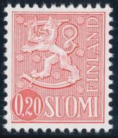 FINLAND 1976, M-63 Definitive PHOSPHOR Lion 0,20 Type I EGpQ** - Finlandia
