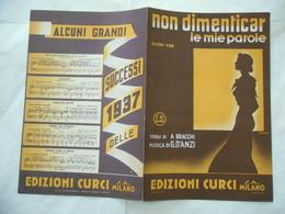 1937 SPARTITO MUSICALE NON DIMENTICAR LE MIE PAROLE D'ANZI SAMSA. - Musica & Strumenti