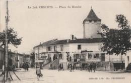 A1- 46) CONCOTS (LOT)  PLACE DU MARCHE  - (ANIMEE - 2 SCANS) - France