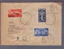 Lettre Recommandée 2543 Obl. Billingue Ita/allemande De Mérano 12.05.1949->Colmar -Divers Cachets Ferroviaires Italiens - 6. 1946-.. Repubblica