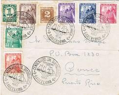 32154. Carta BARCELONA 1950, Centenario Compañia Trasatlantica. Barco, Ship A Puerto Rico - 1931-50 Briefe U. Dokumente