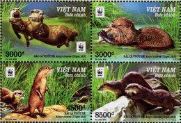 Vietnam - 2018 - WWF - Oriental Small-clawed Otter - Aonyx Cinerea - Mint Stamp Set (se-tenant Block) - Viêt-Nam