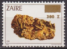 Ressources Minières - ZAIRE - Minéraux - Or - N* 1332 ** - Surchargé - 1990 - Zaïre