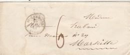 LSC ST CHAMOND Loire 15/5/1843 Taxe Manuscrite à Marseille - Poststempel (Briefe)