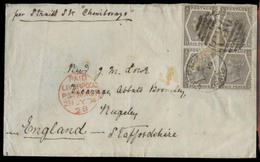 CHILE. 1874 (10 June). BPO Valp - UK / Staffordshire. Env Fkd GB 6d Grey Plate 12 Block Of Four, Tied Cds Valp / Paid / - Chile