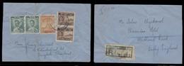 SIAM. C.1950. BKK - Derby / UK. Reg Reverse Fkd Env, Addressed To Khun Salao Chyakomol. - Siam