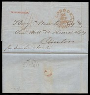 CHINA. 1850. Incoming Mail. NY / USA (7 Sept) To Canton Via London Paid + Marseilles Endorsement But Hg Kg Cds BPO (11 N - China